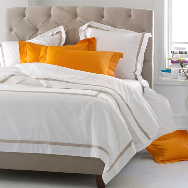 Lowell By Matouk Luxurious 600 Thread Count Italian Percale Sheets Embellished With Colored Sateen Band Silky Soft Cool And Crisp