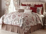 Izabelle - Add a touch of color to your bedroom with the rich look of Izabelle by Rose Tree. A beautiful Jacobean design in wine red and green with blue, taupe and grey accents on an ivory background.