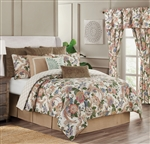 Audrey.. An allover floral in soft rose, pink, gold, cocoa and tones of green on an ivory texture ground