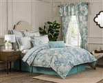 Kensington.. Crisp and cool Kensington features an allover large scale Jacobean floral in shades of seafoam and grey on an off white ground.