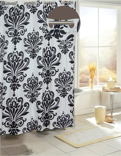Beacon Hill Black/White Fabric Hookless Shower Curtain