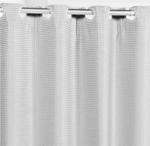Hookless waffle weave shower curtain.